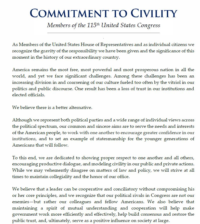 Commitment to Civility document