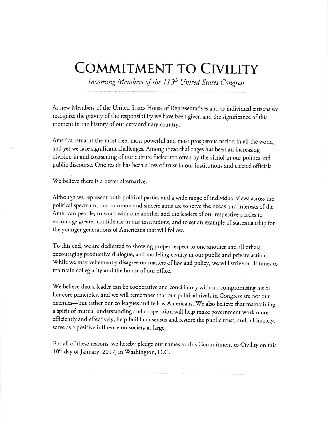 rep. johnson, 49 freshman members sign commitment to civility